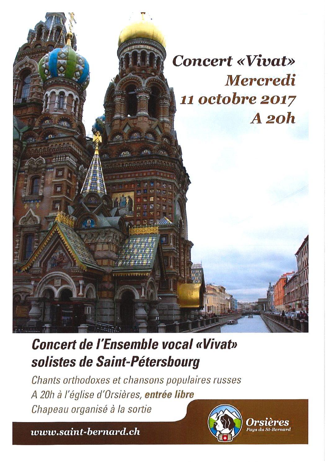 Concert de l'Ensemble vocal «Vivat» – 11 octobre 2017, à 20h à l'église d'Orsières